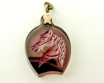 Antique glass intaglio horse fob