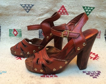 70s leather platforms, studs with wood heels, 6.5 7