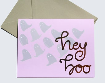 """Halloween Illustrated Hand Lettered Rose Gold Foil Blank Greeting Card - """"Hey Boo"""" Ghosts in Lavender and Gray"""