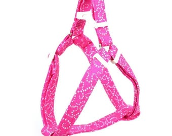 ON SALE Pink Step In Dog Harness - White Stars on Pink - Mini Small Medium Large XL Dog Harness