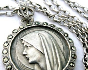 Blessed Virgin Mary Necklace, Our Lady of Lourdes, Vintage French Silver Medal, Marcasite Medal