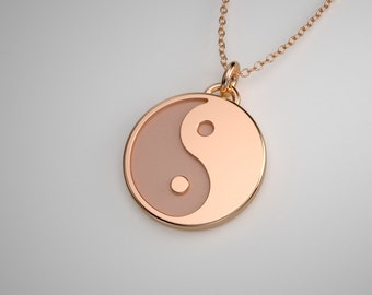 Rose Gold Yin Yang Necklace - Solid 14k and 18k Rose Gold Yin Yang Charm. Yoga Jewelry. TINY TALISMANS™ Line of Spiritual Jewelry.