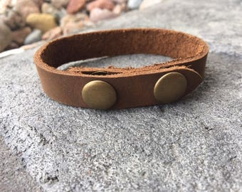 "Leather Bracelet Cuff Blank High Quality Leather with Brass Snaps .5"" width"