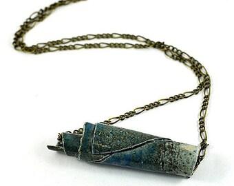 Tube Necklace Bar Necklace Ceramic Pendant Handmade Jewellery Blue Grey on Antique Bronze Chain in Handmade Jewellery Bag Made in Australia