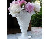 Milk Glass Hobnail Vase by Fenton  / Milk Glass Wedding Centerpiece /