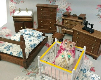 Vintage Doll Furniture Complete with a Mouse in a Playpen