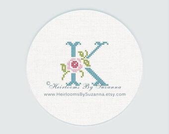 "Antique Rose Monogram, Machine Cross Stitch Initial, Floral Font, Machine Embroidery, Decorative Font, Block Letter ""K"" - HBS-ROSEMNGR-K"