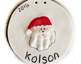 Baby's First Christmas Ornament - Santa Handprint Ornament - Baby Ornament  - Personalized Baby Keepsake  - Baby's First Ornament -
