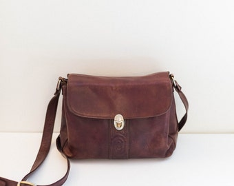 MARINO ORLANDI brown burgundy italian leather shoulder satchel purse bag