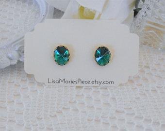 Emerald Studs, Crystal Earrings, Crystal Studs, Art Deco Stud Earrings, Pointed Studs, Spiked Stud Earrings, Estate Jewelry, Emerald Jewelry