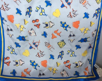 Vintage Scarf NORDSTROM Blue Swimsuits Sik made in Italy