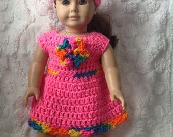 Doll dress and hat set for American girl sized dolls