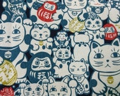 "Japan Lucky Cat - 1 yard - cotton linen - 2 colors  ,cat fabric ,Check out with code ""5YEAR"" to save 20% off"