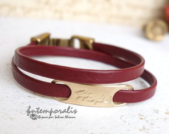 Bronze and burgundy leather bracelet, Hope, OOAK, SABR31