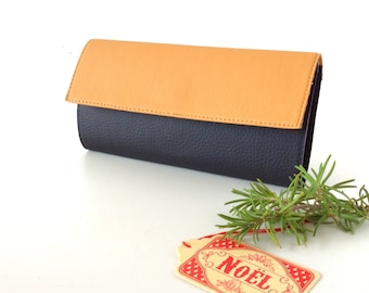 Beige and black womens wallet, Vegan wallet women, tanned leather wallet, vegan leather wallet, Holiday mother gift, Go vegan wallet