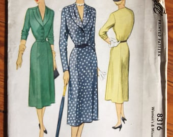 1950 McCall 8316 Sewing Pattern Classy Day Dress 30 Bust