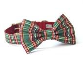 Red, Green, Gold Metallic Plaid Christmas Bow Tie Dog Collar