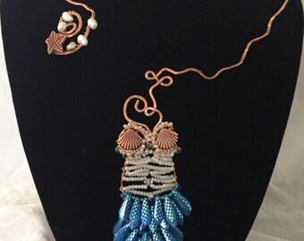 Mermaid Neck Cuff, Beaded Mermaid Necklace, Mermaid Jewelry