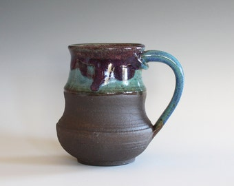 Coffee Mug, 14 oz, handthrown ceramic mug, stoneware pottery mug, unique coffee mug