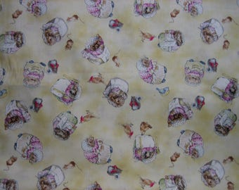 Mrs Tiggy Winkle Beatrix Potter fabric BTY ( Quilting Treasures )