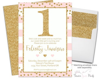 Pink and Gold 1st Birthday Invitations, Girls Birthday Party Invitations, First Birthday Invitation, Pink and Gold Glitter, Glitter Invite