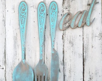 ON SALE Fork and Spoon  Wall Decor~Large Wood Fork and Spoon Wall Art~Wood Fork and Spoon~Kitchen Wall Decor