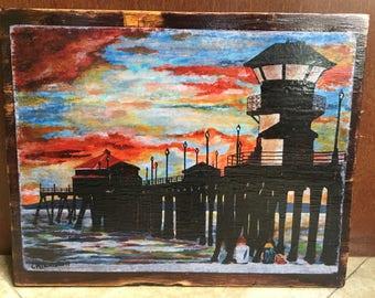 Handmade Distressed Wood Art -  Huntington Beach Pier, California