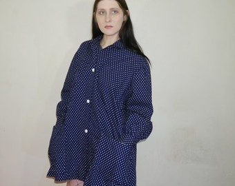 70s Oversized navy polka dot button up jacket