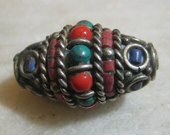 Tibetan White Brass Banded Lapis, Coral & Turquoise Rice Bead, Focal Bead, Jewelry Component, Loose Beads, 30x16mm, One piece