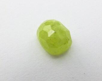 Green Garnet Cabochon Rose Cut. Natural Grossularite Garnet Tavernier Cut Geometric Shape. 1 pc. 5.10 cts. 8x10x5.5 mm (GA402)