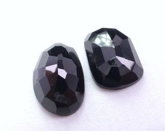 ONYX cabochons. Natural. Flat Rose Cut. Clean, Bright, and Lovely. Freeform. 2 pc. 12.20 cts. 10x14x5 mm  (OX292)