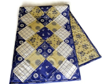 Quilted Table Runner, Ombre Table Runner, Patchwork Table Quilt, Quilted Table Topper, French Reproduction, Navy Khaki Ivory