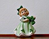 Vintage Lefton Irish Girl Figurine Shamrocks  St. Patrick's Day March Birthday # 403 Japan