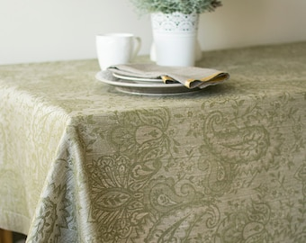 Linen Tablecloth, Natural With Olive Green Tablecloth, With Borders  Tablecloth, Damask Tablecloth,