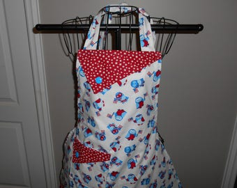 Patriotic Owls with Flags Women's Apron