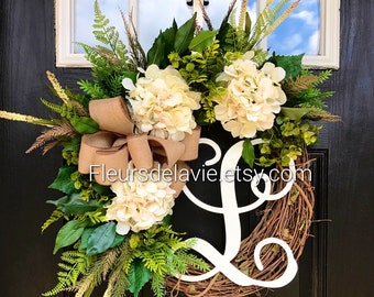 BEST SELLER! Spring Wreaths for Front Door, Front Door Wreaths, Farm House Wreaths, Hydrange Wreath, Grapevine Wreath, Fall Wreaths