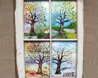 windowpane framed four seasons mixed media tree