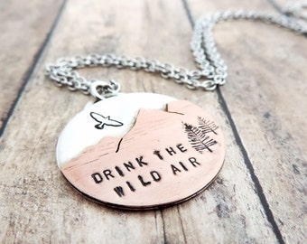 Mountain Necklace - Drink the Wild Air - Hiker Jewelry - Mountain Girl - Outdoor Woman - Mountain Peaks - Nature Jewelry - Mixed Metal