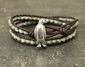 Penguin Jewelry Silver and Turquoise Penguin Bracelet Double Leather Wrap Bracelet