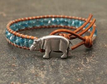 Hippo Jewelry Silver Teal Turquoise Hippopotamus Bracelet