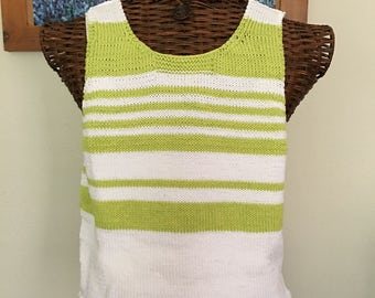 Hand Knit Warm Weather Colorful Top-Bright Lime Green and Bright White