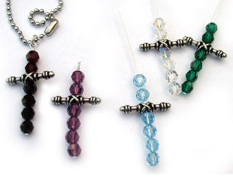 Cross Necklace Crystal Bead Birthstone Colors
