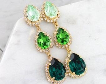 Emerald Chandelier, Green Chandelier Earrings, Green Emerlad Statement Earrings, Greenery Bridal Jewelry, LONG Peridot Dangle Earrings.