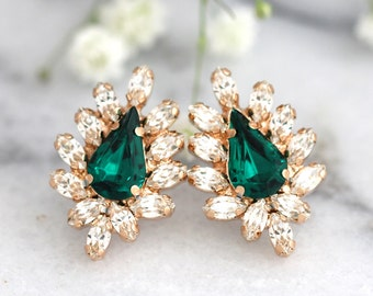 Emerald Earrings Bridal Emerald Earrings, Emeralds Swarovski Stud Earrings, Bridesmaids Earrings , Emerald Bridal Jewelry, Gift For Her