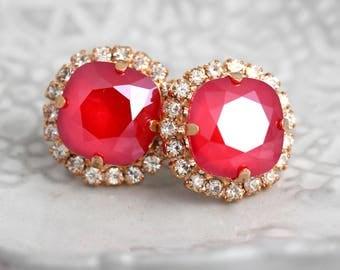 Red Earrings, Ruby Red Swarovski Stud Earrings, Gift For Her, Mother Of the Bride Earrings, Bridal Ruby Earrings, Bridesmaids Red Earring