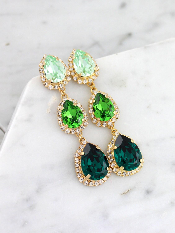 Emerald Chandelier Green Chandelier Earrings Green Emerlad