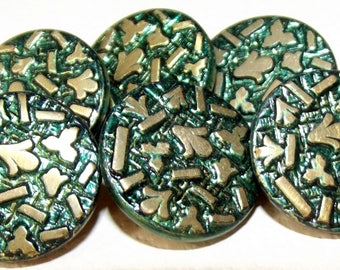 Antique Buttons ~ Metal Buttons Bright Green Tint w/ Paris 1882 Back Mark