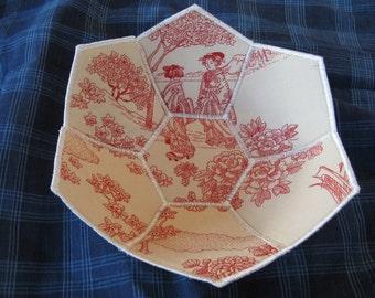 Japanese toile reversible fabric bowl