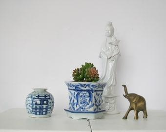 Vintage Asian figurine/ Blanc De Chine Kwan Yin Lotus Flowers White Porcelain Buddhist Figure