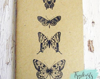 Butterflies Stamped & Embossed A6 Journal Pocket Notebook made from 100% Recycled Paper